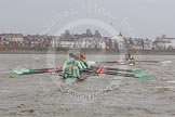 "The Boat Race season 2016 - Women's Boat Race Trial Eights (CUWBC, Cambridge): ""Tideway"" chasing ""Twickenham"" in the Bandstand area. River Thames between Putney Bridge and Mortlake, London SW15,  United Kingdom, on 10 December 2015 at 11:17, image #109"