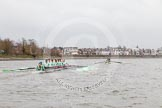 "The Boat Race season 2016 - Women's Boat Race Trial Eights (CUWBC, Cambridge): ""Tideway"" chasing ""Twickenham"" in the Bandstand area. River Thames between Putney Bridge and Mortlake, London SW15,  United Kingdom, on 10 December 2015 at 11:17, image #110"