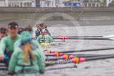 "The Boat Race season 2016 - Women's Boat Race Trial Eights (CUWBC, Cambridge): The leading boat ""Twickenham"" seen from behind ""Tideway"". River Thames between Putney Bridge and Mortlake, London SW15,  United Kingdom, on 10 December 2015 at 11:18, image #111"