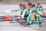 "The Boat Race season 2016 - Women's Boat Race Trial Eights (CUWBC, Cambridge): ""Tideway"" with cox-Olivia Godwin, stroke-Daphne Martschenko, 7-Thea Zabell, 6-Alexandra Wood, 5-Lucy Pike, 4-Alice Jackson, 3-Rachel Elwood, 2-Evelyn Boettcher, bow-Kate Baker. River Thames between Putney Bridge and Mortlake, London SW15,  United Kingdom, on 10 December 2015 at 11:18, image #112"