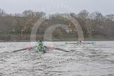 "The Boat Race season 2016 - Women's Boat Race Trial Eights (CUWBC, Cambridge): ""Tideway"" chasing ""Twickenham"" approaching Stag Brewery. River Thames between Putney Bridge and Mortlake, London SW15,  United Kingdom, on 10 December 2015 at 11:21, image #114"