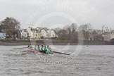 "The Boat Race season 2016 - Women's Boat Race Trial Eights (CUWBC, Cambridge): ""Twickenham"" on the last 100 yards before reaching the finish line at Chiswick Bridge, with ""Tideway"" trailing behind. River Thames between Putney Bridge and Mortlake, London SW15,  United Kingdom, on 10 December 2015 at 11:22, image #116"