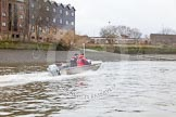The Boat Race season 2016 - Women's Boat Race Trial Eights (CUWBC, Cambridge): CUWBC head coch Rob Barker in the tin boat folowing the race. River Thames between Putney Bridge and Mortlake, London SW15,  United Kingdom, on 10 December 2015 at 11:22, image #117