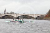 "The Boat Race season 2016 - Women's Boat Race Trial Eights (CUWBC, Cambridge): Approaching the finish line at Chiswick Bridge, ""Twickenham"" is a few length ahead of ""Tideway"". River Thames between Putney Bridge and Mortlake, London SW15,  United Kingdom, on 10 December 2015 at 11:23, image #118"