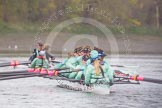 "The Boat Race season 2016 - Women's Boat Race Trial Eights (CUWBC, Cambridge): ""Tideway"" and ""Twickenham"" just after the race at Chiswick Bridge. River Thames between Putney Bridge and Mortlake, London SW15,  United Kingdom, on 10 December 2015 at 11:24, image #120"