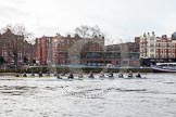 "The Boat Race season 2016 - Women's Boat Race Trial Eights (OUWBC, Oxford): The start of the OUWBC race, ""Charydis"" is the yellow boat, ""Scylla"" the white one. River Thames between Putney Bridge and Mortlake, London SW15,  United Kingdom, on 10 December 2015 at 12:18, image #138"