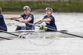 "The Boat Race season 2016 - Women's Boat Race Trial Eights (OUWBC, Oxford): ""Scylla"", here 2-Merel Lefferts, bow-Issy Dodds. River Thames between Putney Bridge and Mortlake, London SW15,  United Kingdom, on 10 December 2015 at 12:18, image #140"