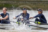 "The Boat Race season 2016 - Women's Boat Race Trial Eights (OUWBC, Oxford): ""Scylla"", here 5-Anastasia Chitty, 4-Rebecca Te Water Naude, 3-Elettra Ardissino. River Thames between Putney Bridge and Mortlake, London SW15,  United Kingdom, on 10 December 2015 at 12:18, image #144"
