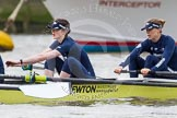 "The Boat Race season 2016 - Women's Boat Race Trial Eights (OUWBC, Oxford): ""Charybdis"", here 2-Christina Fleischer, bow-Georgie Daniell. River Thames between Putney Bridge and Mortlake, London SW15,  United Kingdom, on 10 December 2015 at 12:18, image #146"