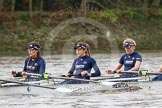 "The Boat Race season 2016 - Women's Boat Race Trial Eights (OUWBC, Oxford): ""Scylla"", here 4-Rebecca Te Water Naude, 3-Elettra Ardissino, 2-Merel Lefferts. River Thames between Putney Bridge and Mortlake, London SW15,  United Kingdom, on 10 December 2015 at 12:20, image #166"
