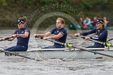 "The Boat Race season 2016 - Women's Boat Race Trial Eights (OUWBC, Oxford): ""Scylla"", here 6-Joanne Jansen, 5-Anastasia Chitty, 4-Rebecca Te Water Naude. River Thames between Putney Bridge and Mortlake, London SW15,  United Kingdom, on 10 December 2015 at 12:20, image #167"