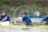 "The Boat Race season 2016 - Women's Boat Race Trial Eights (OUWBC, Oxford): ""Charybdis"", here 3-Lara Pysden, 2-Christina Fleischer, bow-Georgie Daniell. River Thames between Putney Bridge and Mortlake, London SW15,  United Kingdom, on 10 December 2015 at 12:20, image #170"