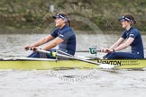 "The Boat Race season 2016 - Women's Boat Race Trial Eights (OUWBC, Oxford): ""Charybdis"", here 3-Lara Pysden, 2-Christina Fleischer. River Thames between Putney Bridge and Mortlake, London SW15,  United Kingdom, on 10 December 2015 at 12:20, image #171"