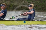 "The Boat Race season 2016 - Women's Boat Race Trial Eights (OUWBC, Oxford): ""Charybdis"", here 2-Christina Fleischer, bow-Georgie Daniell. River Thames between Putney Bridge and Mortlake, London SW15,  United Kingdom, on 10 December 2015 at 12:20, image #172"
