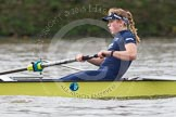 "The Boat Race season 2016 - Women's Boat Race Trial Eights (OUWBC, Oxford): ""Charybdis"", here stroke Kate Erickson. River Thames between Putney Bridge and Mortlake, London SW15,  United Kingdom, on 10 December 2015 at 12:20, image #176"