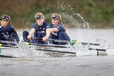 "The Boat Race season 2016 - Women's Boat Race Trial Eights (OUWBC, Oxford): ""Scylla"", here 3-Elettra Ardissino, 2-Merel Lefferts, bow-Issy Dodds. River Thames between Putney Bridge and Mortlake, London SW15,  United Kingdom, on 10 December 2015 at 12:22, image #177"