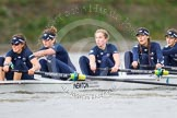 "The Boat Race season 2016 - Women's Boat Race Trial Eights (OUWBC, Oxford): ""Scylla"", here 7-Lauren Kedar, 6-Joanne Jansen, 5-Anastasia Chitty, 4-Rebecca Te Water Naude, 3-Elettra Ardissino. River Thames between Putney Bridge and Mortlake, London SW15,  United Kingdom, on 10 December 2015 at 12:22, image #178"