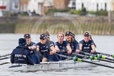 "The Boat Race season 2016 - Women's Boat Race Trial Eights (OUWBC, Oxford): ""Scylla"" at the Surrey Bend, cox-Antonia Stutter, stroke-Emma Lukasiewicz, 7-Lauren Kedar, 6-Joanne Jansen, 5-Anastasia Chitty, 4-Rebecca Te Water Naude, 3-Elettra Ardissino, 2-Merel Lefferts, bow-Issy Dodds. River Thames between Putney Bridge and Mortlake, London SW15,  United Kingdom, on 10 December 2015 at 12:25, image #212"