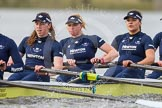 "The Boat Race season 2016 - Women's Boat Race Trial Eights (OUWBC, Oxford): ""Charybdis"" , here 5-Ruth Siddorn, 4-Emma Spruce, 3-Lara Pysden. River Thames between Putney Bridge and Mortlake, London SW15,  United Kingdom, on 10 December 2015 at 12:26, image #214"