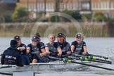 "The Boat Race season 2016 - Women's Boat Race Trial Eights (OUWBC, Oxford): ""Scylla"" at the Surrey Bend, cox-Antonia Stutter, stroke-Emma Lukasiewicz, 7-Lauren Kedar, 6-Joanne Jansen, 5-Anastasia Chitty, 4-Rebecca Te Water Naude, 3-Elettra Ardissino, 2-Merel Lefferts, bow-Issy Dodds. River Thames between Putney Bridge and Mortlake, London SW15,  United Kingdom, on 10 December 2015 at 12:26, image #218"