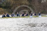 "The Boat Race season 2016 - Women's Boat Race Trial Eights (OUWBC, Oxford): ""Charybdis"" , at the Surrey Bend, cox-Morgan Baynham-Williams, stroke-Kate Erickson, 7-Maddy Badcott, 6-Elo Luik, 5-Ruth Siddorn, 4-Emma Spruce, 3-Lara Pysden, 2-Christina Fleischer, bow-Georgie Daniell. River Thames between Putney Bridge and Mortlake, London SW15,  United Kingdom, on 10 December 2015 at 12:27, image #228"