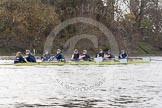 "The Boat Race season 2016 - Women's Boat Race Trial Eights (OUWBC, Oxford): ""Charybdis"" , at the Surrey Bend, cox-Morgan Baynham-Williams, stroke-Kate Erickson, 7-Maddy Badcott, 6-Elo Luik, 5-Ruth Siddorn, 4-Emma Spruce, 3-Lara Pysden, 2-Christina Fleischer, bow-Georgie Daniell. River Thames between Putney Bridge and Mortlake, London SW15,  United Kingdom, on 10 December 2015 at 12:27, image #229"