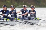 """The Boat Race season 2016 - Women's Boat Race Trial Eights (OUWBC, Oxford): """"Scylla"""", here 4-Rebecca Te Water Naude, 3-Elettra Ardissino, 2-Merel Lefferts, bow-Issy Dodds. River Thames between Putney Bridge and Mortlake, London SW15,  United Kingdom, on 10 December 2015 at 12:28, image #230"""