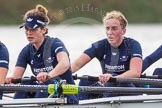 """The Boat Race season 2016 - Women's Boat Race Trial Eights (OUWBC, Oxford): """"Scylla"""", here 6-Joanne Jansen, 5-Anastasia Chitty. River Thames between Putney Bridge and Mortlake, London SW15,  United Kingdom, on 10 December 2015 at 12:28, image #232"""