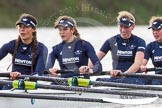"The Boat Race season 2016 - Women's Boat Race Trial Eights (OUWBC, Oxford): ""Scylla"", here 4-Rebecca Te Water Naude, 3-Elettra Ardissino, 2-Merel Lefferts, bow-Issy Dodds. River Thames between Putney Bridge and Mortlake, London SW15,  United Kingdom, on 10 December 2015 at 12:28, image #236"