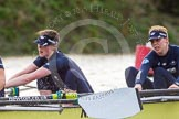 """The Boat Race season 2016 - Women's Boat Race Trial Eights (OUWBC, Oxford): """"Charybdis"""" , here 2-Christina Fleischer, bow-Georgie Daniell. River Thames between Putney Bridge and Mortlake, London SW15,  United Kingdom, on 10 December 2015 at 12:28, image #238"""