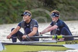 """The Boat Race season 2016 - Women's Boat Race Trial Eights (OUWBC, Oxford): """"Charybdis"""" , here 3-Lara Pysden, 2-Christina Fleischer. River Thames between Putney Bridge and Mortlake, London SW15,  United Kingdom, on 10 December 2015 at 12:28, image #239"""