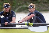 """The Boat Race season 2016 - Women's Boat Race Trial Eights (OUWBC, Oxford): """"Charybdis"""" , here 5-Ruth Siddorn, 4-Emma Spruce. River Thames between Putney Bridge and Mortlake, London SW15,  United Kingdom, on 10 December 2015 at 12:28, image #240"""