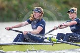 """The Boat Race season 2016 - Women's Boat Race Trial Eights (OUWBC, Oxford): """"Charybdis"""" , here 5-Ruth Siddorn, 4-Emma Spruce. River Thames between Putney Bridge and Mortlake, London SW15,  United Kingdom, on 10 December 2015 at 12:28, image #241"""