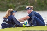 """The Boat Race season 2016 - Women's Boat Race Trial Eights (OUWBC, Oxford): """"Charybdis"""" , here Cox-Morgan Baynham-Williams, stroke-Kate Erickson. River Thames between Putney Bridge and Mortlake, London SW15,  United Kingdom, on 10 December 2015 at 12:28, image #244"""