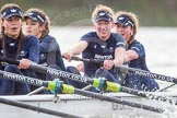 """The Boat Race season 2016 - Women's Boat Race Trial Eights (OUWBC, Oxford): """"Scylla"""", here 4-Rebecca Te Water Naude, 3-Elettra Ardissino, 2-Merel Lefferts, bow-Issy Dodds. River Thames between Putney Bridge and Mortlake, London SW15,  United Kingdom, on 10 December 2015 at 12:28, image #246"""