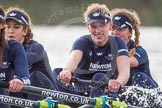 """The Boat Race season 2016 - Women's Boat Race Trial Eights (OUWBC, Oxford): """"Scylla"""", here 3-Elettra Ardissino, 2-Merel Lefferts, bow-Issy Dodds. River Thames between Putney Bridge and Mortlake, London SW15,  United Kingdom, on 10 December 2015 at 12:28, image #247"""