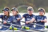 """The Boat Race season 2016 - Women's Boat Race Trial Eights (OUWBC, Oxford): """"Scylla"""", here 4-Rebecca Te Water Naude, 3-Elettra Ardissino, 2-Merel Lefferts, bow-Issy Dodds. River Thames between Putney Bridge and Mortlake, London SW15,  United Kingdom, on 10 December 2015 at 12:28, image #248"""