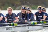 """The Boat Race season 2016 - Women's Boat Race Trial Eights (OUWBC, Oxford): """"Scylla"""", here 5-Anastasia Chitty, 4-Rebecca Te Water Naude, 3-Elettra Ardissino, 2-Merel Lefferts, bow-Issy Dodds. River Thames between Putney Bridge and Mortlake, London SW15,  United Kingdom, on 10 December 2015 at 12:29, image #250"""