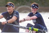 """The Boat Race season 2016 - Women's Boat Race Trial Eights (OUWBC, Oxford): """"Charybdis"""" , here 3-Lara Pysden, 2-Christina Fleischer. River Thames between Putney Bridge and Mortlake, London SW15,  United Kingdom, on 10 December 2015 at 12:29, image #253"""