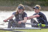 """The Boat Race season 2016 - Women's Boat Race Trial Eights (OUWBC, Oxford): """"Charybdis"""" , here 5-Ruth Siddorn, 4-Emma Spruce. River Thames between Putney Bridge and Mortlake, London SW15,  United Kingdom, on 10 December 2015 at 12:29, image #255"""
