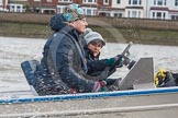 The Boat Race season 2016 - Women's Boat Race Trial Eights (OUWBC, Oxford): OUWBC Head Coach Christine Wilson following the race in the tin boat. River Thames between Putney Bridge and Mortlake, London SW15,  United Kingdom, on 10 December 2015 at 12:33, image #286