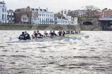 "The Boat Race season 2016 - Women's Boat Race Trial Eights (OUWBC, Oxford): ""Scylla"" and ""Charybdis"" approaching Barnes Railway Bridge, with ""Charybdis"" in the lead. River Thames between Putney Bridge and Mortlake, London SW15,  United Kingdom, on 10 December 2015 at 12:33, image #287"