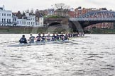 "The Boat Race season 2016 - Women's Boat Race Trial Eights (OUWBC, Oxford): ""Scylla"" and ""Charybdis"" approaching Barnes Railway Bridge, with ""Charybdis"" in the lead. River Thames between Putney Bridge and Mortlake, London SW15,  United Kingdom, on 10 December 2015 at 12:34, image #288"