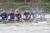 "The Boat Race season 2016 - Women's Boat Race Trial Eights (OUWBC, Oxford): ""Charybdis"", here 6-Elo Luik, 5-Ruth Siddorn, 4-Emma Spruce, 3-Lara Pysden, 2-Christina Fleischer, bow-Georgie Daniell. River Thames between Putney Bridge and Mortlake, London SW15,  United Kingdom, on 10 December 2015 at 12:35, image #296"
