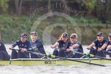 "The Boat Race season 2016 - Women's Boat Race Trial Eights (OUWBC, Oxford): ""Charybdis"", here 7-Maddy Badcott, 6-Elo Luik, 5-Ruth Siddorn, 4-Emma Spruce, 3-Lara Pysden. River Thames between Putney Bridge and Mortlake, London SW15,  United Kingdom, on 10 December 2015 at 12:35, image #299"