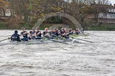 "The Boat Race season 2016 - Women's Boat Race Trial Eights (OUWBC, Oxford): ""Scylla"" and ""Charybdis"" behind Barnes Railway Bridge, with ""Charybdis"" in the lead. River Thames between Putney Bridge and Mortlake, London SW15,  United Kingdom, on 10 December 2015 at 12:35, image #301"
