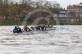 "The Boat Race season 2016 - Women's Boat Race Trial Eights (OUWBC, Oxford): ""Scylla"" and ""Charybdis"" behind Barnes Railway Bridge, with ""Charybdis"" in the lead. River Thames between Putney Bridge and Mortlake, London SW15,  United Kingdom, on 10 December 2015 at 12:35, image #302"