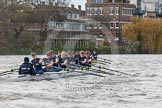 "The Boat Race season 2016 - Women's Boat Race Trial Eights (OUWBC, Oxford): ""Scylla"" and ""Charybdis"" behind Barnes Railway Bridge, with ""Charybdis"" in the lead. River Thames between Putney Bridge and Mortlake, London SW15,  United Kingdom, on 10 December 2015 at 12:35, image #303"
