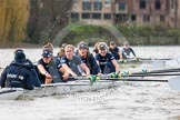 "The Boat Race season 2016 - Women's Boat Race Trial Eights (OUWBC, Oxford): ""Scylla"", here cox-Antonia Stutter, stroke-Emma Lukasiewicz, 7-Lauren Kedar, 6-Joanne Jansen, 5-Anastasia Chitty, 4-Rebecca Te Water Naude, 3-Elettra Ardissino, 2-Merel Lefferts, bow-Issy Dodds. River Thames between Putney Bridge and Mortlake, London SW15,  United Kingdom, on 10 December 2015 at 12:35, image #305"