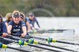 "The Boat Race season 2016 - Women's Boat Race Trial Eights (OUWBC, Oxford): ""Scylla"", here 2-Merel Lefferts, bow-Issy Dodds. River Thames between Putney Bridge and Mortlake, London SW15,  United Kingdom, on 10 December 2015 at 12:36, image #307"